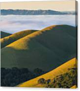 Green Hills And Low Clouds Canvas Print