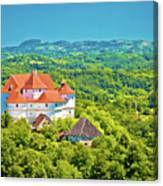 Green Hills Of Zagorje Region And Veliki Tabor Castle View Canvas Print