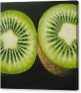 Green Kiwi Oil Painting  Canvas Print