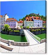 Green Ljubljana Riverfront Panoramic View Canvas Print