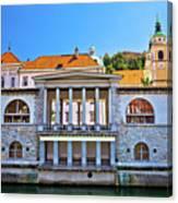 Green Ljubljanica Riverfront In Ljubljana Canvas Print