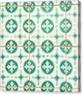 Green Lucky Charm Lisbon Tiles Canvas Print