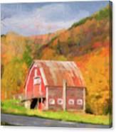 Green Mountains Barn Canvas Print
