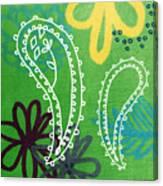 Green Paisley Garden Canvas Print