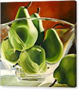 Green Pears In Glass Bowl Canvas Print