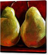 Green Pears On Red Canvas Print