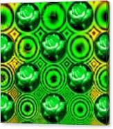 Green Polka Dot Roses Fractal Canvas Print