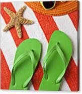 Green Sandals On Beach Towel Canvas Print