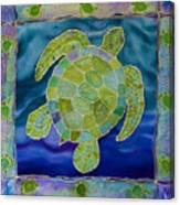 Green Sea Turtle Silk Painting Canvas Print