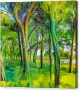 Green Shore Trees Canvas Print
