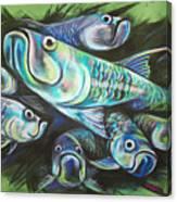 Green Tarpon Collage Canvas Print