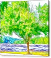 Green Trees By The Water 3 Canvas Print