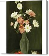 Green Vase With Flowers Canvas Print