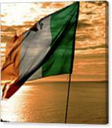 Flag Of Ireland At The Cliffs Of Moher Canvas Print