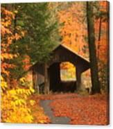 Greenfield Pumping Station Bridge Autumn Canvas Print
