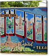 Greetings From Austin Capital Of Texas Postcard Mural Canvas Print