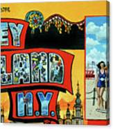 Greetings from coney island towel verson painting by bonnie siracusa greetings from coney island towel verson canvas print m4hsunfo