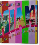 Greetings From Miami Canvas Print