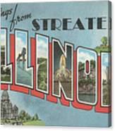 Greetings From Streater Illinois Canvas Print