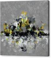 Grey And Yellow Abstract Cityscape Art Canvas Print