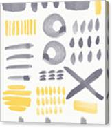 Grey And Yellow Shapes- Abstract Painting Canvas Print