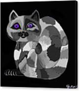 Grey Cat With Purple Eyes Canvas Print