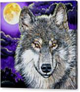 Grey Wolf And Full Moon Canvas Print