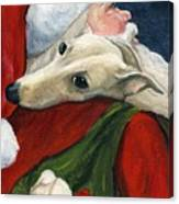 Greyhound And Santa Canvas Print