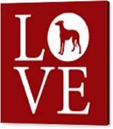 Greyhound Love Red Canvas Print