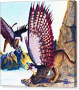 Griffins On Cliff Canvas Print