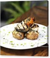 Grilled Fish With Roast Potato Herbs And Garlic Canvas Print