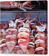 Grilled Squid For Sale Canvas Print
