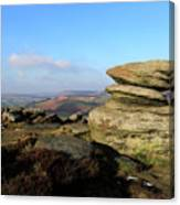 Gritstone Rocks On Hathersage Moor, Derbyshire County Canvas Print