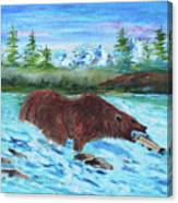 Grizzley Catching Fish In Stream Canvas Print