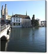 Grossmunster, Wasserkirche And Munsterbrucke - Zurich Canvas Print