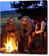 Group Of Cowboys Around A Campfire Canvas Print