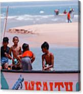 Group Of Friends Having Fun In The Fishing Boat  Canvas Print
