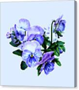 Group Of Purple Pansies And Leaves Canvas Print