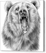 Growling Bear Canvas Print