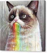 Grumpy Cat Tastes The Rainbow Canvas Print