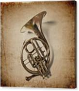 Grunge French Horn Canvas Print
