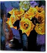 Grunge Friendship Rose Bouquet With Candle By Lisa Kaiser Canvas Print
