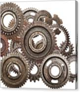 Grunge Gear Cog Wheels Mechanism Isolated On White Canvas Print