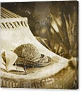 Grunge Photo Of Hammock And Book Canvas Print