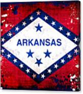 Grunge Style Arkansas Flag Canvas Print