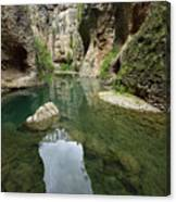 Guadalevin River At El Tajo Gorge From The Bottom Of The Secret  Canvas Print