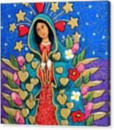 Guadalupe With Stars Canvas Print