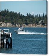 Guemes Island And Fishing Boat Canvas Print