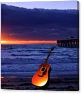 Guitar At Sunrise Canvas Print