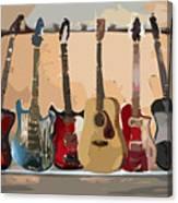 Guitars On A Rack Canvas Print